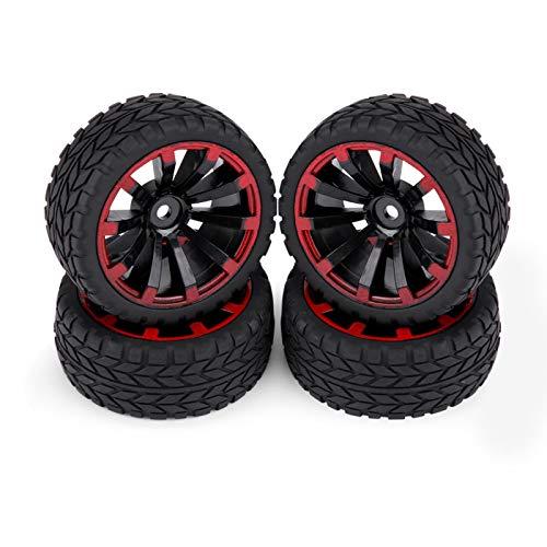 Neumáticos de coche RC, Neumáticos de coche de carreras, Neumático y llanta de goma para buggy de coche todoterreno, Llanta de rueda y llantas para piezas de coche RC 1:10(Patrón de grano)