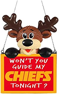 FOCO NFL Kansas City Chiefs Reindeer with Sign Hanging Tree Holiday OrnamentReindeer with Sign Hanging Tree Holiday Ornament, Team Color, One Size