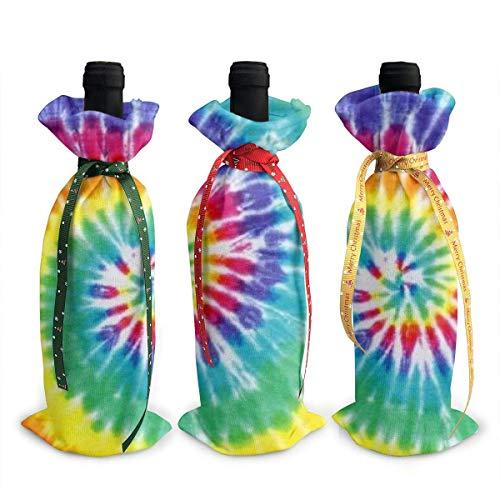 YANPING 3 Pezzi di Sacchetti di Copertura della Bottiglia di Vino Colorati Sacchetti Regalo della Bottiglia di Vino della tintura del Legame per Le Decorazioni della tavola del Partito di Cena