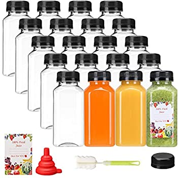 SUPERLELE 20pcs 8oz Plastic Juice Bottles with Caps Empty Clear Reusable Plastic Bottles with Black Tamper Evident Lids for Juicing Smoothie Protein Drinks and Other Beverage Containers