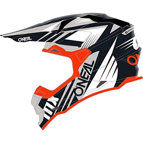 O'NEAL | Casco Motocross | MX | Calotta in ABS, Standard di sicurezza ECE 22.05, Prese d'aria per una ventilazione ottimali | Casco 2SRS Spyde 2.0 | Adulto | Nero Bianco Arancione | Taglia L