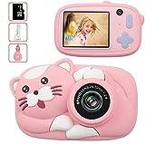 Fotocamera Bambini con 16G TF Carta, 26 Milione Pixel 1080P HD Funzione Video, 4400 immagini/80min video, Funzione Selfie, Mini Ricaricabile Fotocamera Digitale, Regali per Bambini (Rosa)