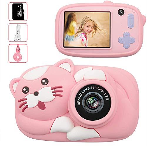 Fotocamera Bambini con 16G TF Carta, 26 Milione Pixel 1080P HD Funzione Video, 4400 immagini/80min video, Funzione Selfie, Mini Ricaricabile Fotocamera Digitale, Regali per Bambini (Rosa) (Rosa)