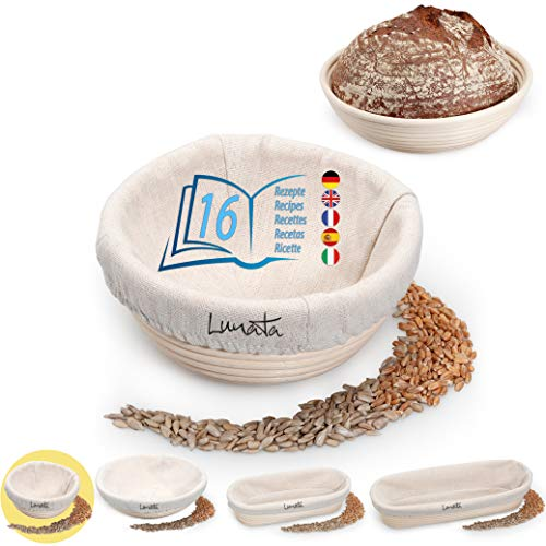 Lunata Gärkörbchen (rund | Ø 16 cm) inkl. 16 leckere Backrezepte als PDF, Gärkorb für Brotteig aus natürlichem Rattan, Brotbackform mit Leineneinsatz