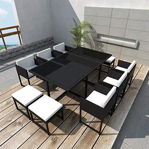 GOTOTOP - Juego de muebles de jardín de poliratán, 1 mesa + 6 sillas + 4 taburetes + 10 cojines + 6 cojines de apoyo | Juego de comedor de jardín de 11 piezas de ratán negro