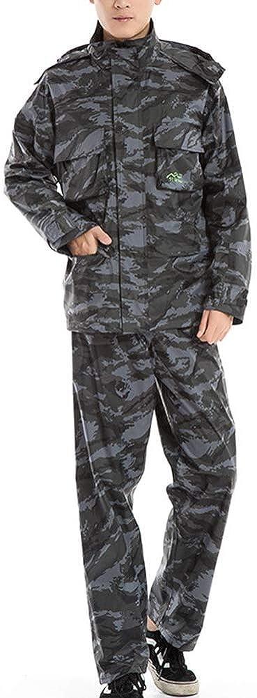月曜寄生虫胃High Quality GR/メンズレインコートこんにちは可視性を設定し、雨のスーツ防水ジャケットパンツ (Color : Gray Camouflage, Size : Small)