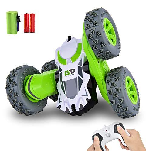IDEAPARK Coche Teledirigido, 2.4 GHz Coche de Control Remoto 4WD Stunt RC Coche Acrobacia Rotación Volteo de 360 ° Radiocontrol Electric Juguetes Regalo para Niños