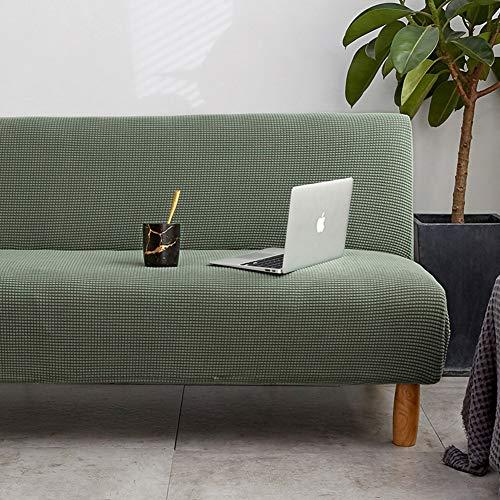 Love House Armless Sofa Überwurf Stretch Schlafsofa Slipcover Futon-Deckung Nicht-Slip Sofa Faltcouch Protector Ohne Armlehnen-grün Groß