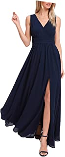 Women's Formal A Line Chiffon Bridesmaid Dresses Slit V Neck Party Gowns Sleeveless