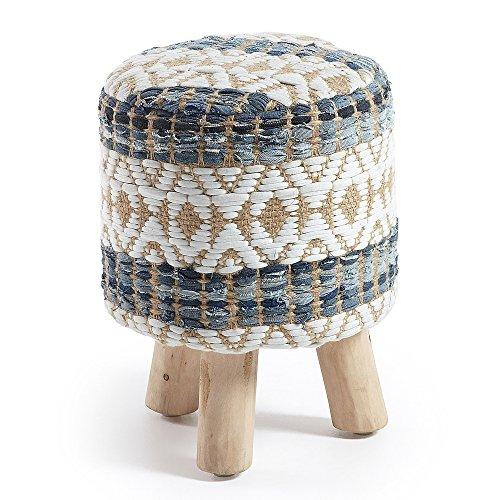 Kave Home - Taburete reposapiés Luc Multicolor con Asiento de algodón y Yute y Patas de Madera Maciza de Teca