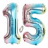 Jrzyhi Globos con número 15 para cumpleaños arcoíris gigante número 15 helio número 15 número XXL número 15. Happy Birthday 15 años globos gigantes para fiesta de cumpleaños decoración de 32 pulgadas