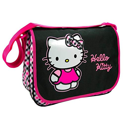 Hello Kitty [J6500 - Sac besace A4 noir rose (2 compartiments) - 36x27x11 cm