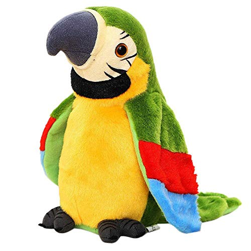 Peluche Electric Parrot Parrot Plush Toy Cute Talking Record Repeated Waving Wings Electronic Bird Stuffed Plush Toy Birthday Gift for Kids