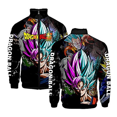dashcos Dragon Ball Goku Sudadera 3D Stand Collar Chaqueta con Cremallera Sudadera Casual Streetwear Sudadera de Tendencia para Hombres