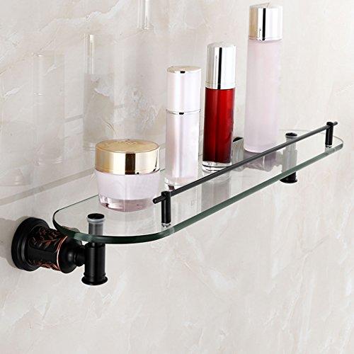 HTDZDX Colgador de Pared Estante de Toalla de Cobre Estante de cosméticos Negro Cuarto de baño Estante de Lavado de Vidrio de una Sola Capa (Size : A)
