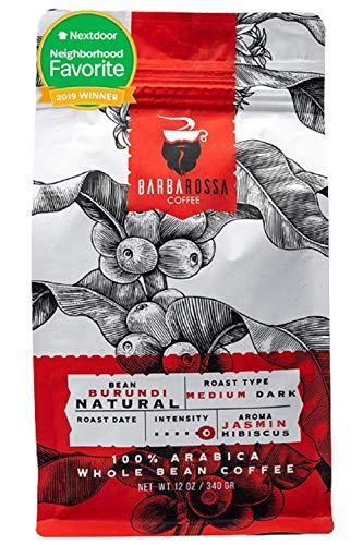 Barbarossa Burundi Coffee -Natural Premium Quality Handcrafted - Medium Dark Artisan Roasted - Low Acidity Jasmin Hibiscus Aroma Whole Beans | 2019 Neighborhood Favorite Award
