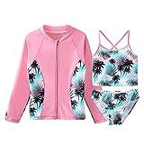 HUAANIUE Niñas sin Mangas Tankini Set Traje de baño de la Flor Trajes de Bikini UPF 50+ Ropa de Natación Ropa de Playa 3 Pieza Protección Solar 4-12 Años