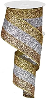 Glitter 3 in 1 Wired Edge Ribbon, 10 Yards (18K Gold, Champagne, Silver)
