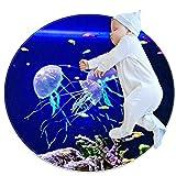 Alfombra Suave Redonda 70x70cm/27.6x27.6IN Alfombrillas Circulares Antideslizantes para el Suelo Alfombrilla para pie de Esponja Absorbente,Acuario con Medusas Azules