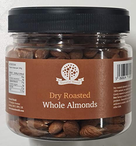 Nutural World - Dry Roasted Whole Almonds - Unsalted (500g)