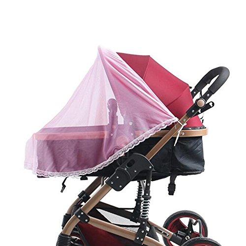 Filets de moustiquaires pour poussettes et coutures pour bébés Soft Insect Netting Cover- Rose