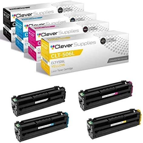 CS Compatible Toner Cartridge Replacement for Samsung CLT 506L CLT K506L Black CLT C506L Cyan product image