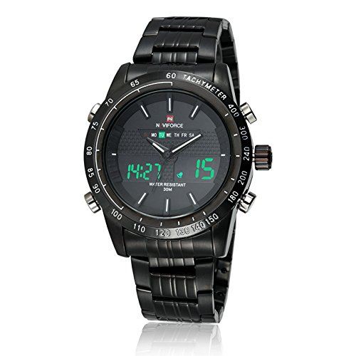 Naviforce Herren Fashion Analog Digital Edelstahl Armbanduhr mit Muti-Functions