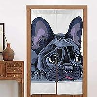 日本のれんタペストリー犬フレンチブルドッグの肖像おかしい手子犬悲しい退屈愛らしい動物のドアカーテンパーティションスクリーンパネルカスタムタペストリーリネン戸口カーテン家の装飾