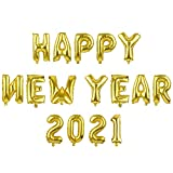 MIAHART 2021 Happy New Year Luftballons Set ALU-Goldfolie 16 Zoll Ballon Silvester Party Supplies Buchstaben und Zahlen Neujahr Dekorationen 2021