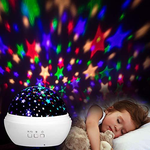 Sternenhimmel Projektor, mixigoo LED Projektor Lampe 360°Rotierend Baby Nachtlicht mit 8 Farben Beleuchtung und USB Kabel Sternenprojektor für Kinderzimmer, Party, Festival Dekor, Weihnachten - Weiß