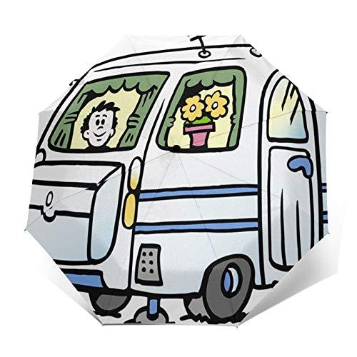 Regenschirm Taschenschirm Kompakter Falt-Regenschirm, Winddichter, Auf-Zu-Automatik, Verstärktes Dach, Ergonomischer Griff, Schirm-Tasche, Adventure Boy Caravan bereit