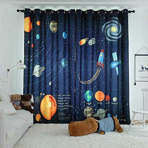 SIMPVALE 1 Stück Kinder Vorhänge Verdunkelungsvorhänge Cartoon Weltraumwissenschaft mit Öse für Wohnzimmer Schlafzimmer Balkon Büro (Marineblau, 150 x 245 cm)