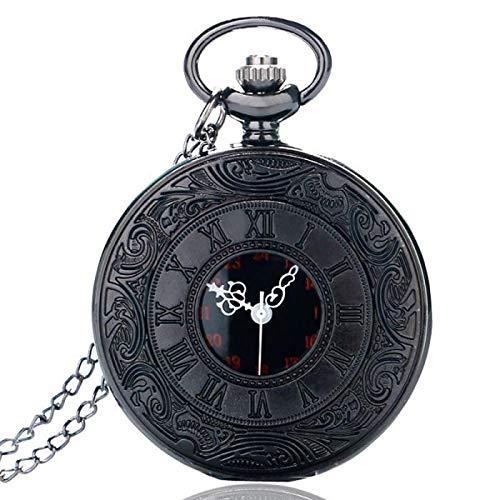 Relógio de Bolso Black Steampunk Corrente Aço Vintage Quartzo…
