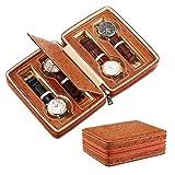 SHAMATE Organizador de 4 ranuras para reloj, impermeable, para viajes, con cremallera, bolsa organizadora de correa de reloj, color marrón
