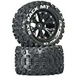 Duratrax Six Pack MT 2.8' 1/10 RC Monster Truck Tires with Foam Inserts: C2 Soft, Mounted, 6-Spoke Rear Wheels, Black, Set of 2