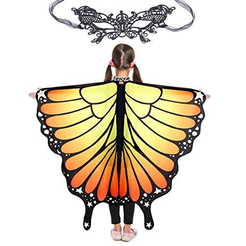 Butterfly Wings for Girls Kids Halloween Costume Fairy Shawl Festival Rave Dress (Kids(Orange))