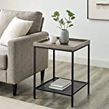 Walker Edison Industrial Farmhouse Square Side End Accent Table Living Room Small End Accent Table, 18 Inch, Grey