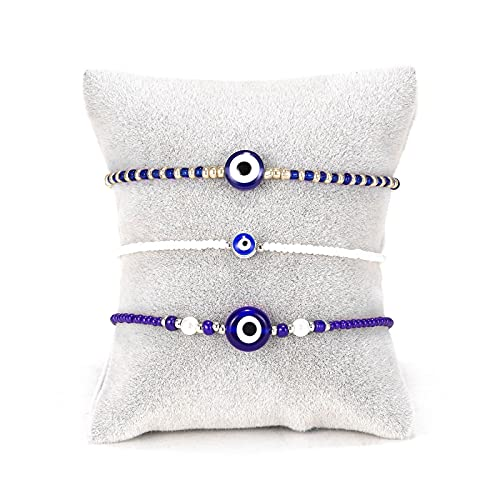 Juego de 3 pulseras con cuentas para mujer, con diseño de ojo malvado azul, pulsera bohemia, cadena de mano para mujeres y niñas