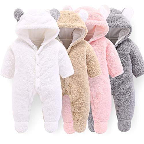Haokaini - Traje de Nieve cálido para bebé Oso, Mono de Mameluco con Capucha de Felpa de algodón para niñas niño (0-3 Meses, Blanco)