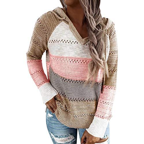 Vertvie Damen Hoodie Farbblock Pullover Lange Ärmel Kapuzenpullover Sweatshirts Langarmshirt Herbst Winter Sweater Freizeit Casual Pulli