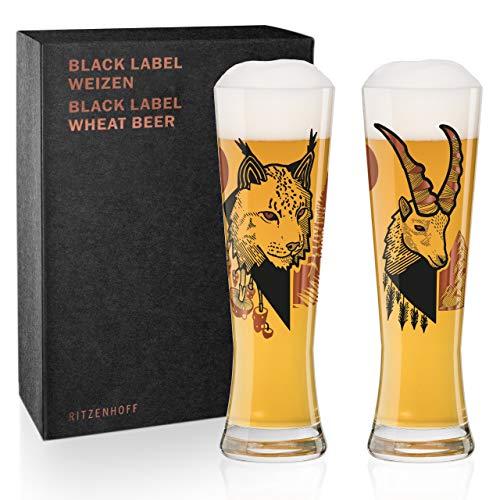 Ritzenhoff Black Label Weizenbierglas-Set von Daniel Fatemi (Lynx & Chamois), aus Kristallglas, 669 ml, mit 3 Klebetattoos