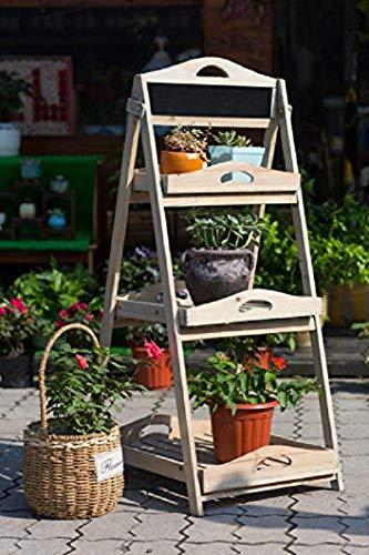 Flor escaleras escaleras flores estantería estantería pizarra PORTAESCALERAS Cajón de madera plantas Estantería de jardín escaleras (YL15A050)