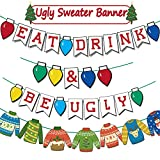 Funnlot Ugly Christmas Sweater Party Decorations Ugly Sweater Party Banner Tacky Sweater Decorations Ugly Sweater Party Supplies Eat Drink And Be Ugly Banner Tacky Christmas Sweater Garland For Wintertime Holiday Office Xmas Party Supplies