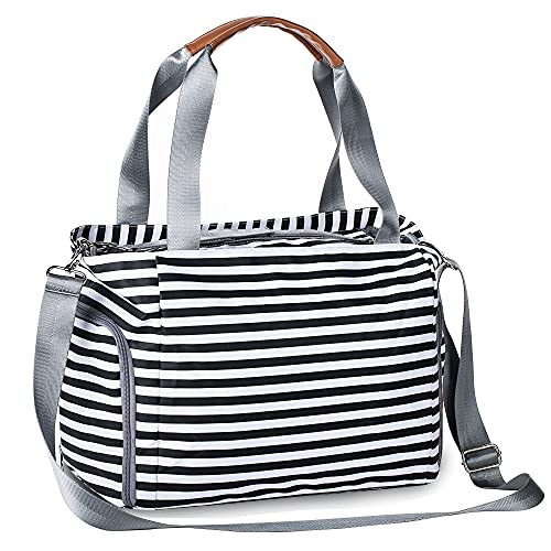 Diaper Bag Tote, Large Waterproof Travel Diaper Tote Multifunction Bag for Mom and Dad Baby Bag with Changing Pad(Black and White)