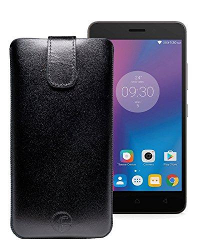 Original Favory Etui Tasche für Lenovo K6 | Leder Etui Handytasche Ledertasche Schutzhülle Hülle Hülle Lasche mit Rückzugfunktion* in schwarz