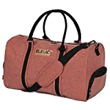 EleSac Canvas Style Duffel Bag for Men and Women with Shoe Compartment – Weekend Bag for Gym Overnight Baggage, (Rust)