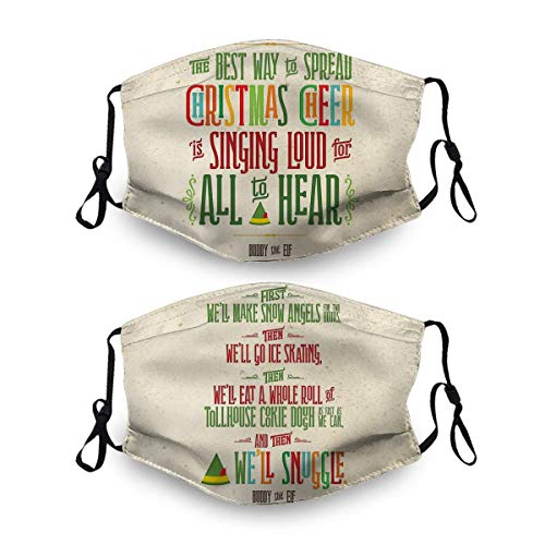 2 Pack Unisex Cloth Face Mask,Buddy The Elf Christmas Cheer Face Cover Washable and Reusable Dust Cover Protective Balaclava Mask for Outdoor School Shopping Sport