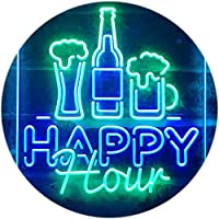 Happy Hour Beverage Home Bar Dual Color LED看板 ネオンプレート サイン 標識 緑色 + 青色 210 x 300mm st6s23-i3243-gb