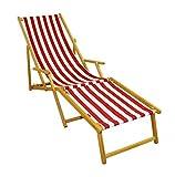 Erst-Holz Liegestuhl rot-weiß Strandliege Sonnenliege Relaxliege Deckchair Buche hell Fußteil 10-314 N F