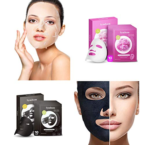 SYMBOM 2 X 10 Pack Japanese Charcoal Cleansing Face Mask Sheet + Bulgarian Rose Water Hydrating Facial Mask Sheet, The Best Combination for Your Beauty Skin Care